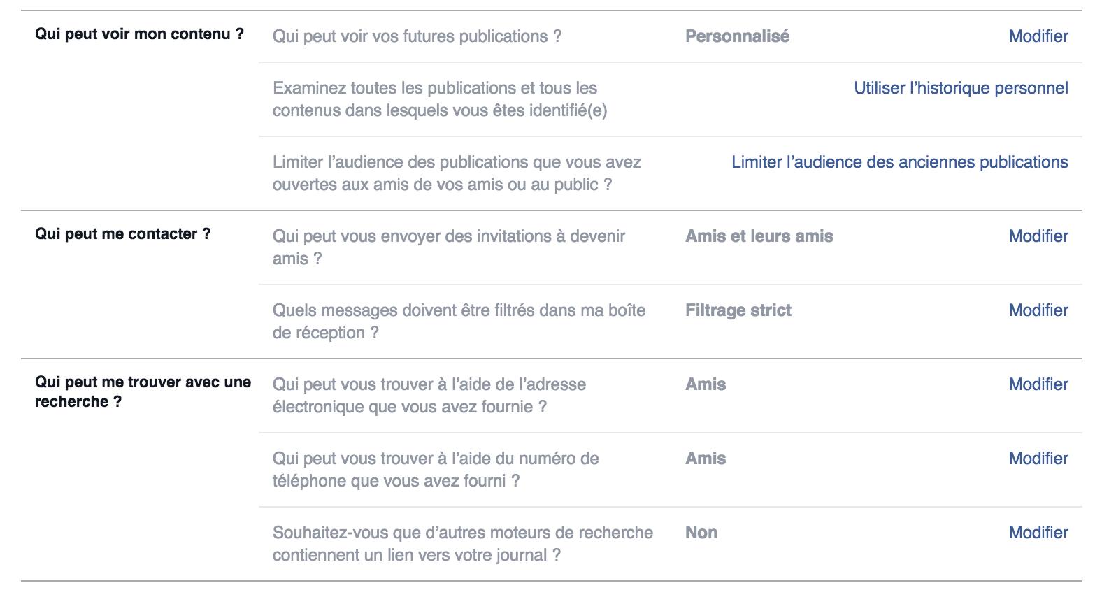 Facebook : Paramètres et outils de confidentialité