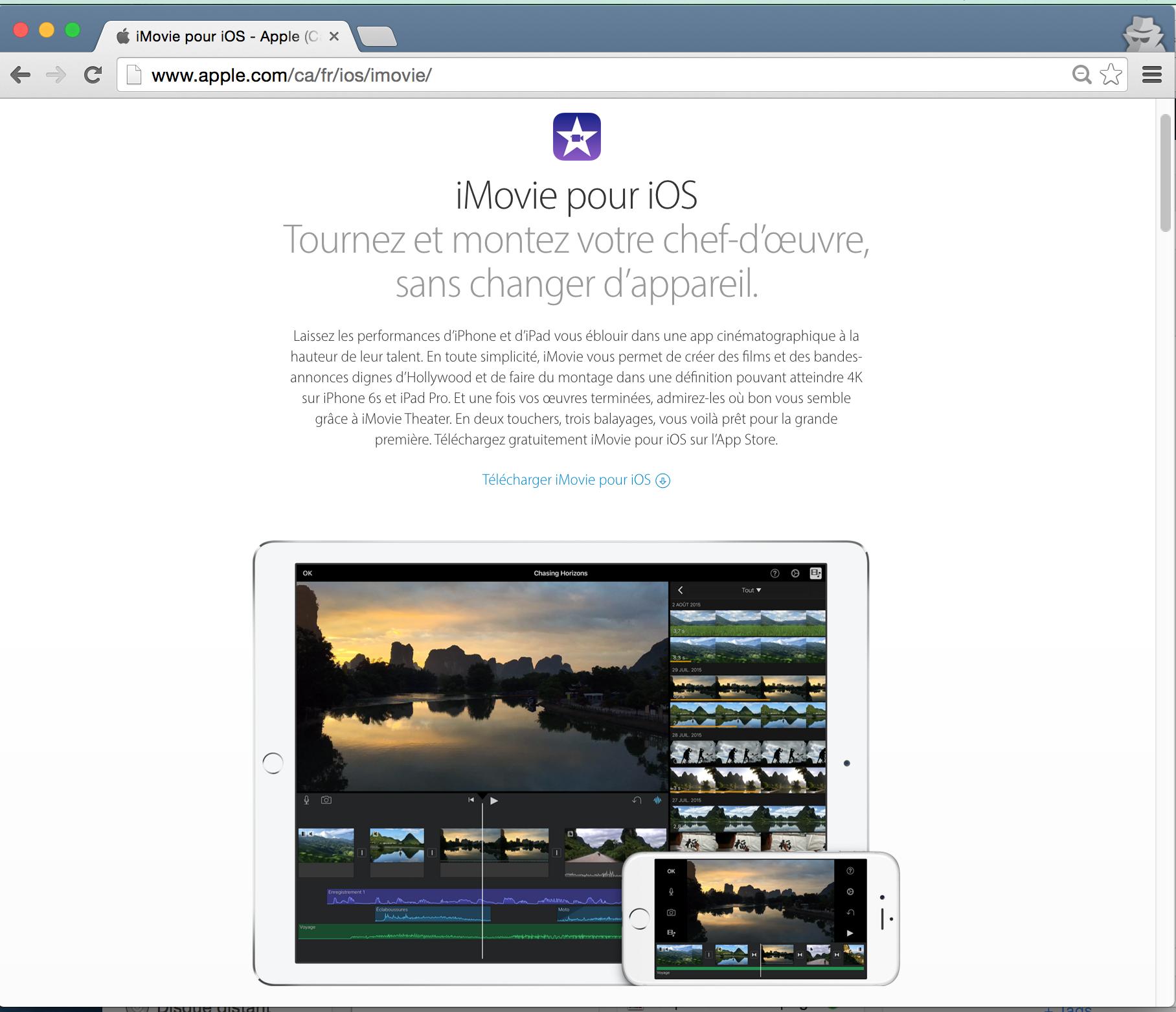 iMovie pour iOs