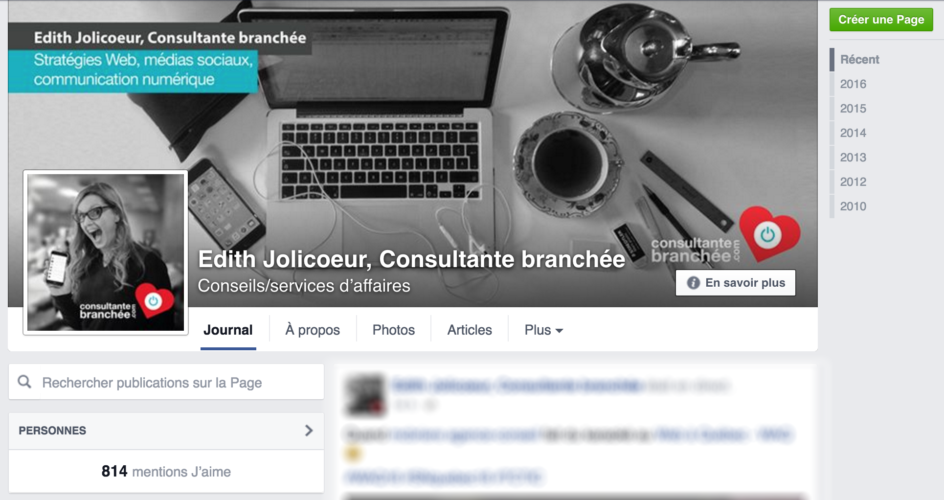 Page Facebook Consultante