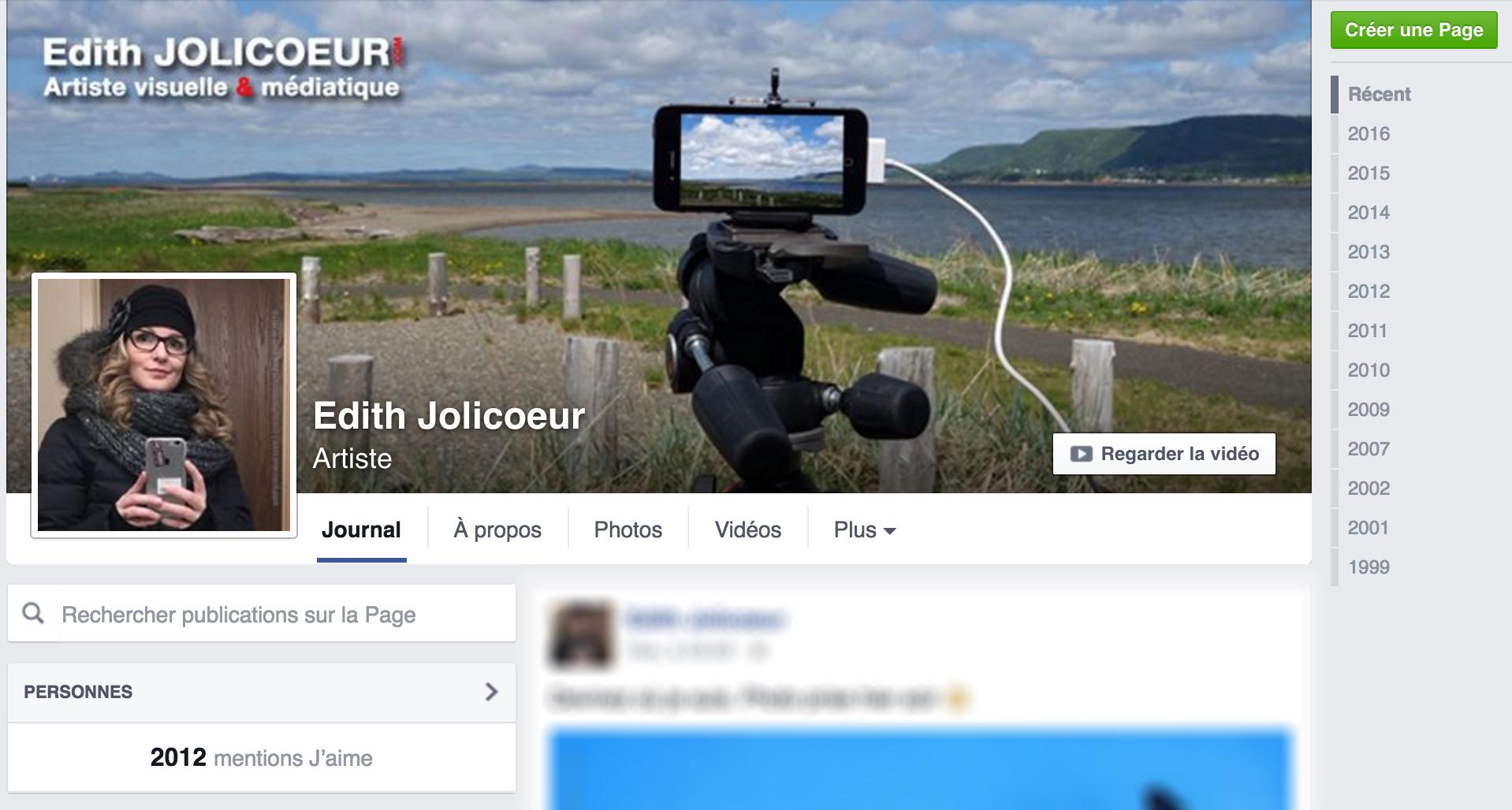 Page Facebook Edith Jolicoeur