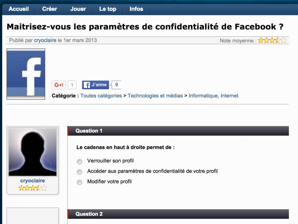 Test Paramètres de confidentialité Facebook