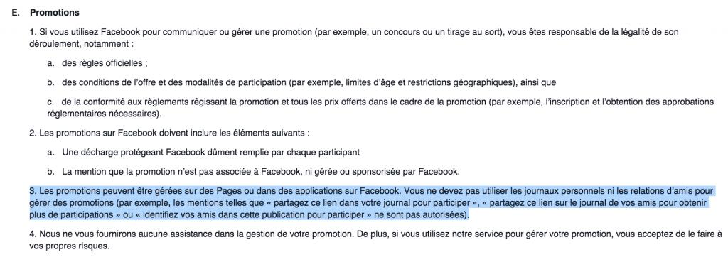 Concours Facebook reglements