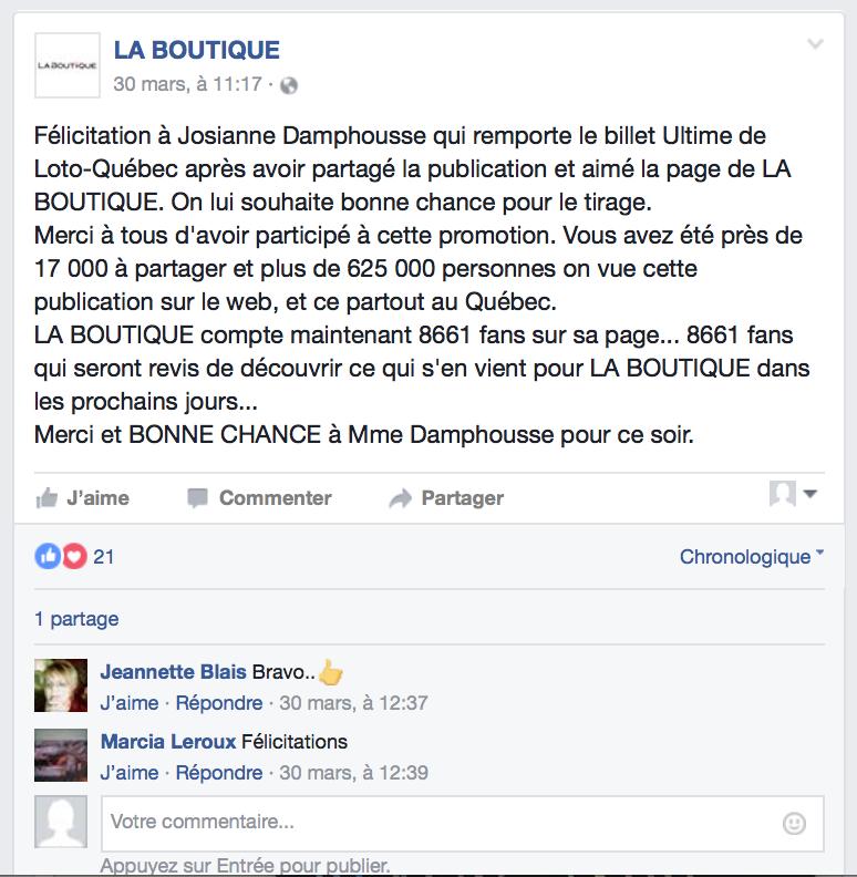 Concours LA BOUTIQUE GAGNANT