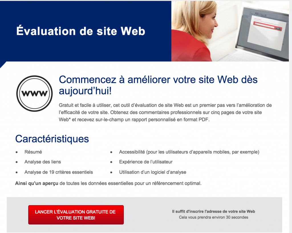 Evaluation de site Web BDC