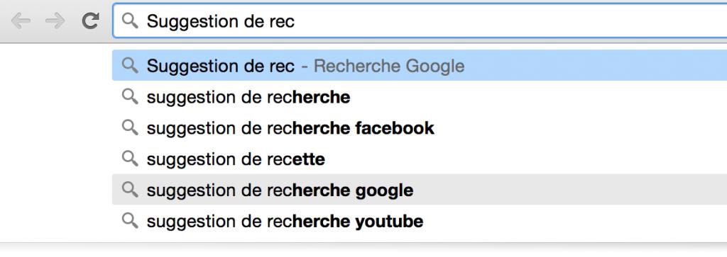 Suggestions recherche Google