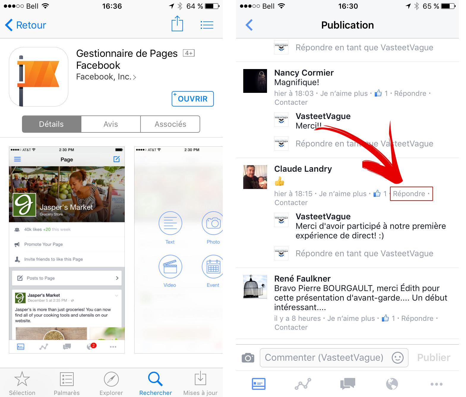 App Pages Repondre