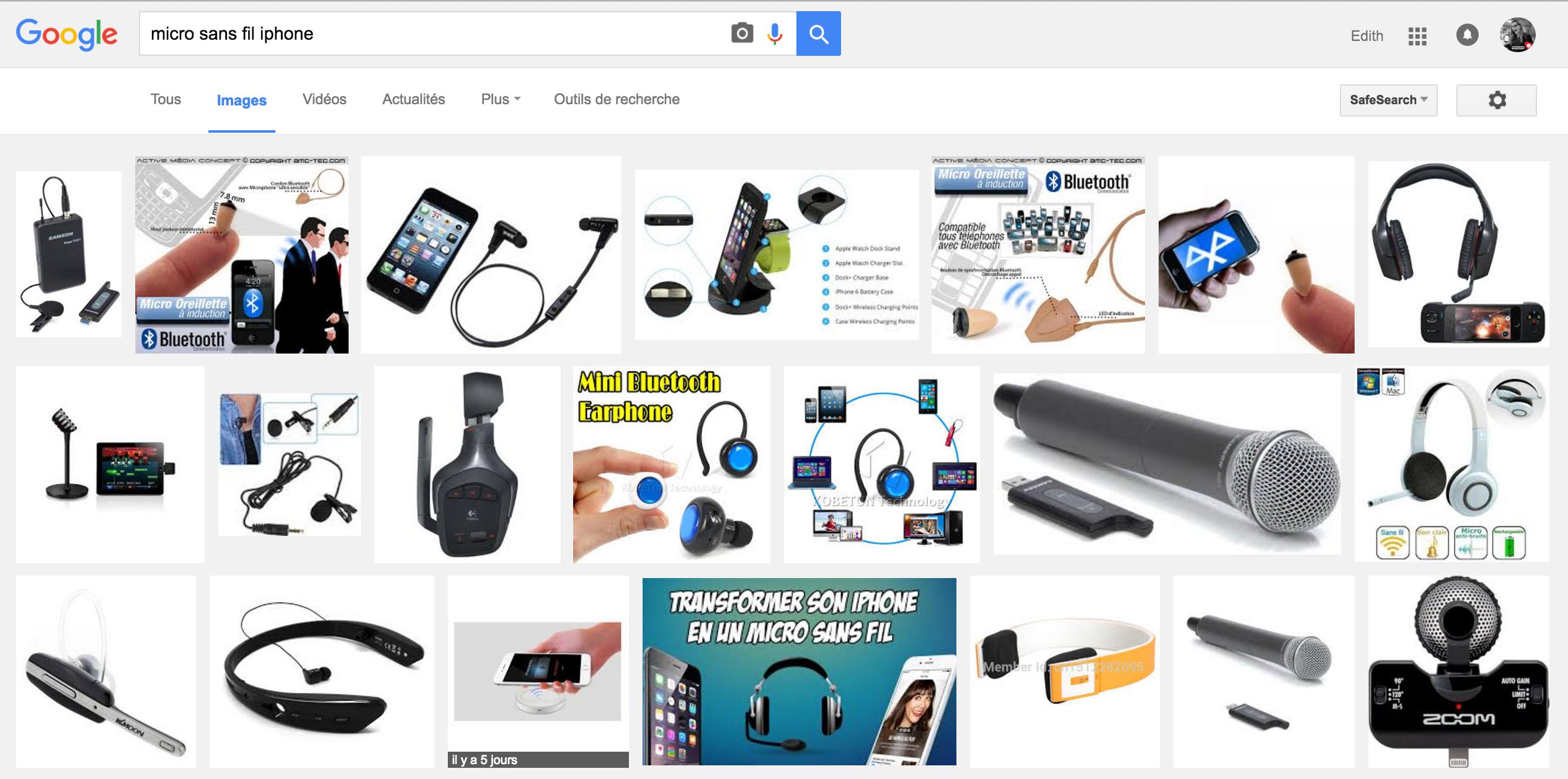 Capture recherche micro sans fil iphone