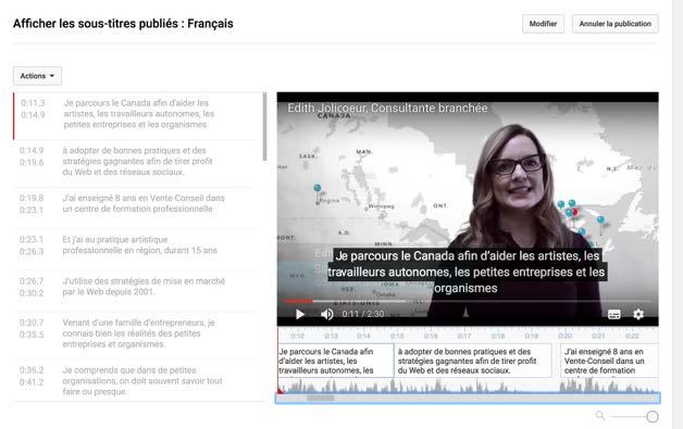 Edith Jolicoeur, Consultante branchée - Ajouter des sous titres srt YouTube