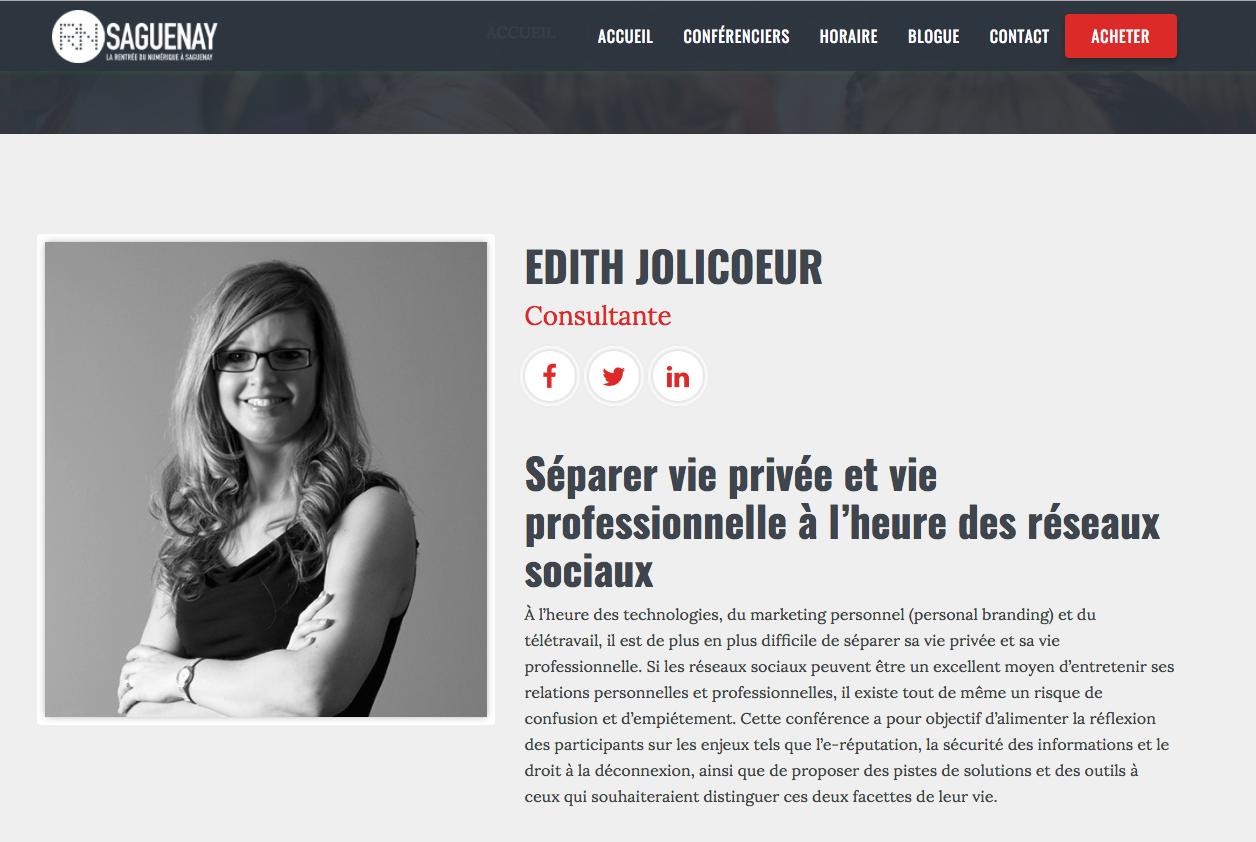 Rentrée numérique Saguenay speaker Edith Jolicoeur