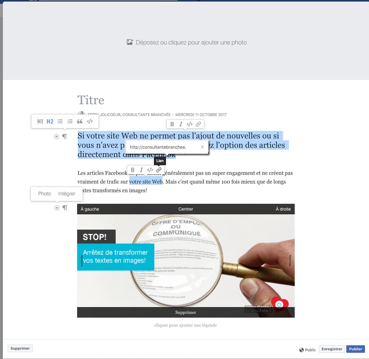Exemple article Facebook - mise en forme, balise, intégration de contenu