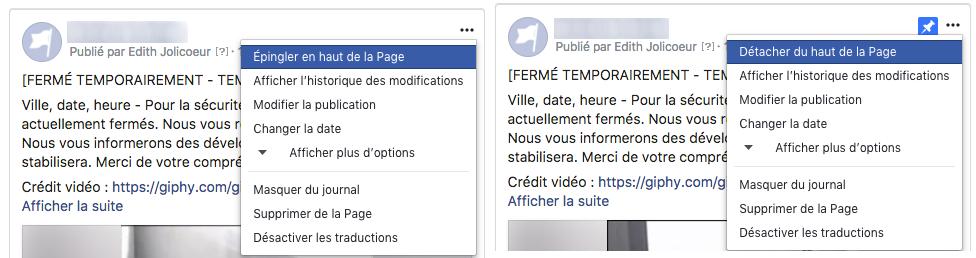 Epingler et détacher publication Facebook