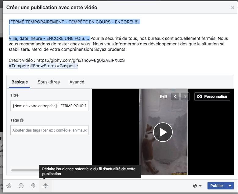 Exemple changer texte auto crosspost Facebook