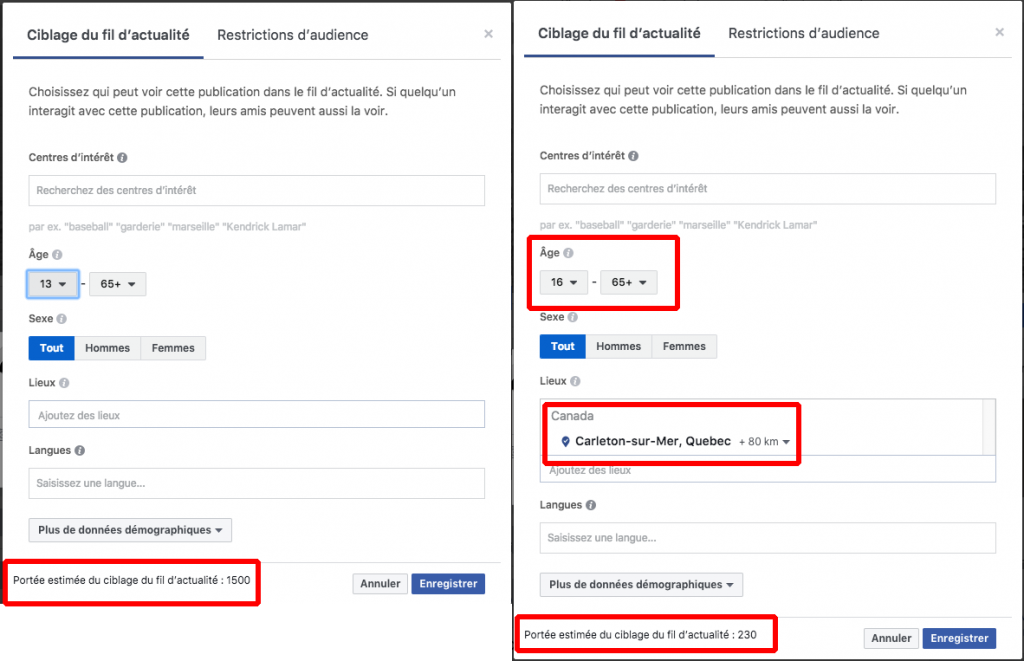 Exemple ciblage audience Facebook distance