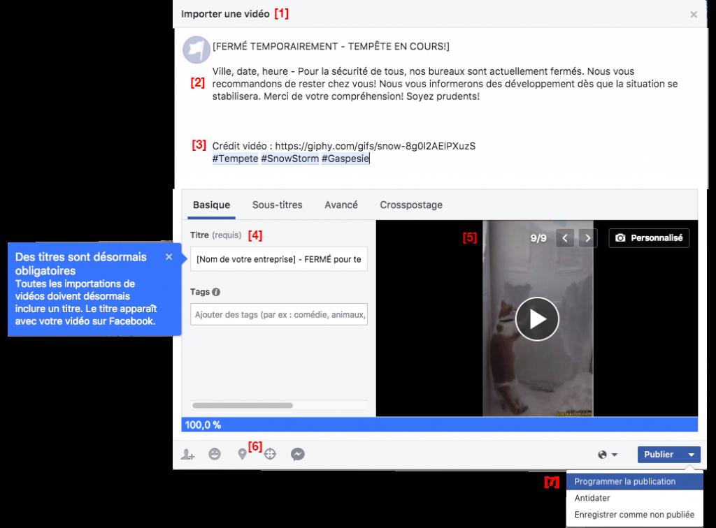 Exemple de publication tempête temporaire ciblée GIF MP4 Facebook