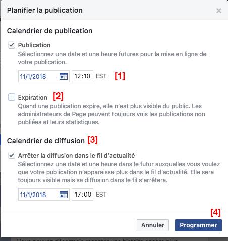 Facebook Planifier la publication et arrêter la diffusion dans le fil d'actualités