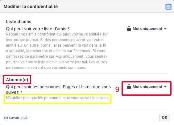 FACEBOOK : Contrôler la confidentialité des abonnements (suivis) étape 9