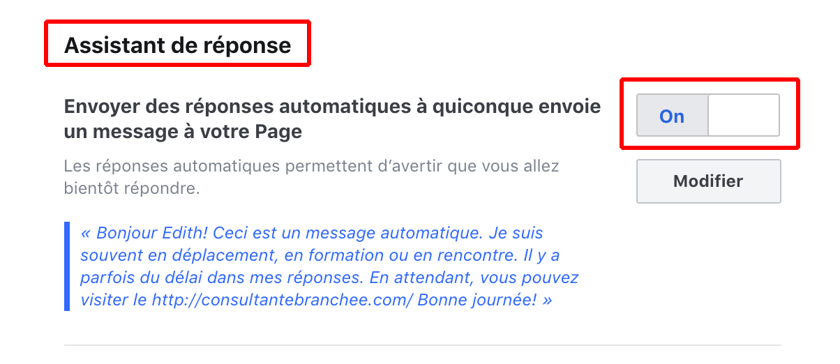 Messenger Page Facebook Assistant reponse