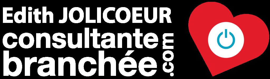 Logo Etiquette blanc Edith Jolicoeur. Consultante branchée