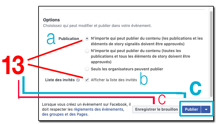 Instructions evenements facebook PUBLIER 13 C