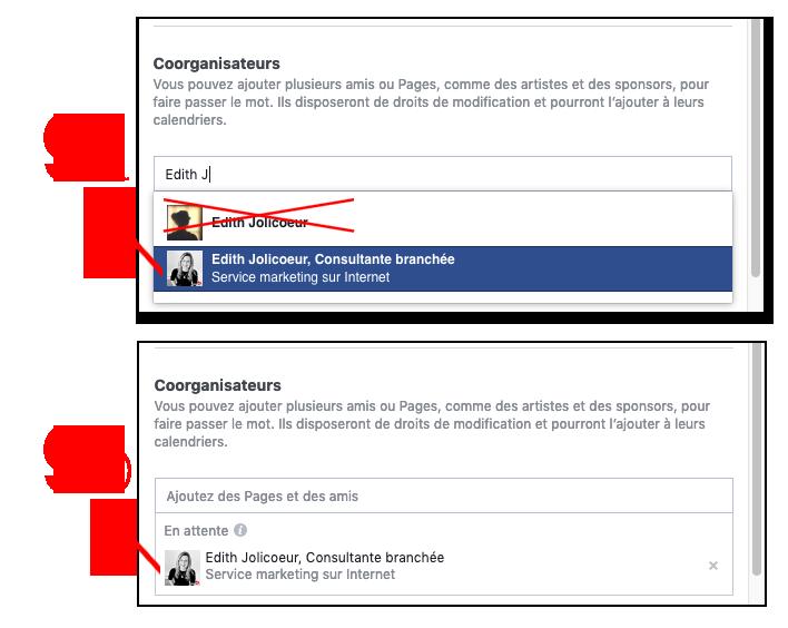 Instructions evenements facebook coorganisateurs